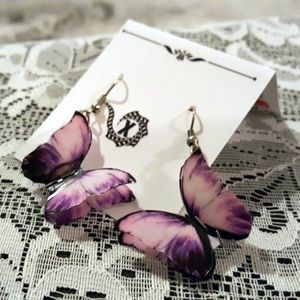 Gorgeous Butterfly Artisan Earrings Purple Tones